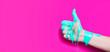 """canvas print picture - female hand showing sign thumb up with paint flowing down on a colored background. creative idea, creative concept, gesture """"class"""""""