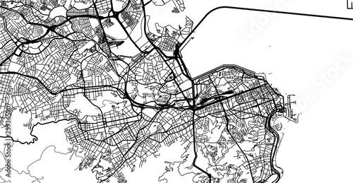 Fototapeta Urban vector city map of Rio de Janeiro, Brazil