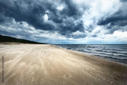 Obraz Spring landscape. Dark stormy sky over the Baltic sea, Latvia - fototapety do salonu