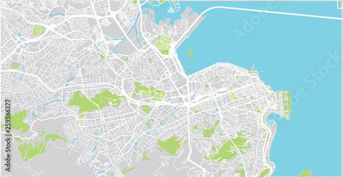 Wallpaper Mural Urban vector city map of Rio de Janeiro, Brazil