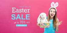 Easter Sale Message With Woman...