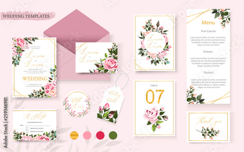 Fototapeta Wedding floral golden invitation card save the date rsvp table menu design obraz
