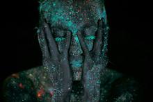 Close Up UV Body Art Alien Outer Space Portrait