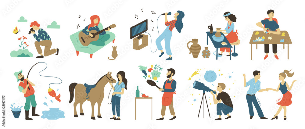 Fototapety, obrazy: Talents and skills, hobbies vector. Photo and playing music, singing and pottery, puzzles and fishing, horse riding and cooking, astronomy and dancing