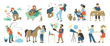 Talents And Skills, Hobbies Vector. Photo And Playing Music, Singing And Pottery, Puzzles And Fishing, Horse Riding And Cooking, Astronomy And Dancing