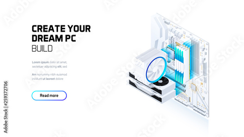 Fotografía Gaming, workstation and mining computer isometric illustration, custom assembly