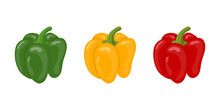 Fresh Bell Pepper Vegetables Isolated On White Background. Green, Yellow, Red Pepper Icons For Market, Recipe Design. Cartoon Flat Style. Vector Illustration For Your Design, Web.