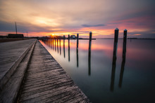 Sunset Over An Empty Fishing P...