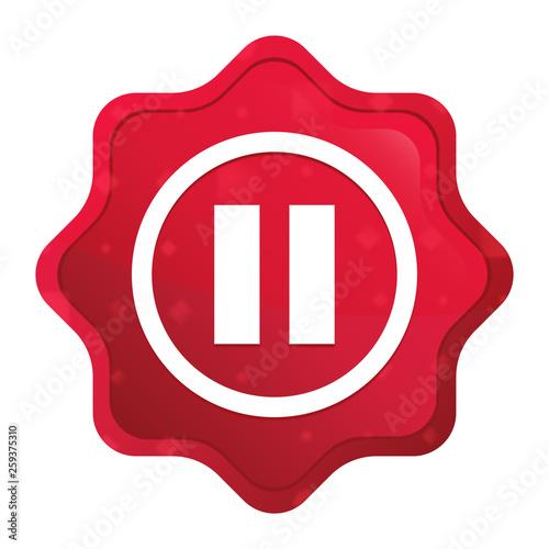 Fotografie, Obraz  Pause icon misty rose red starburst sticker button