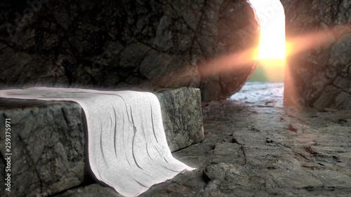 Leinwand Poster Tomb Empty With Crucifixion At Sunrise - Resurrection Of Jesus - 3D Illustration