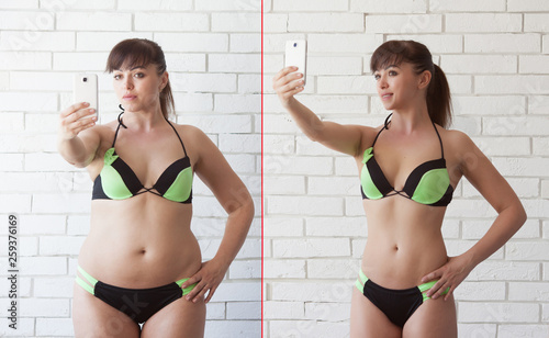 Comparison of women before and after weight loss Canvas Print