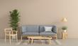 Leinwanddruck Bild - Grey sofa and wood chair in brown living room interior, 3D rendering