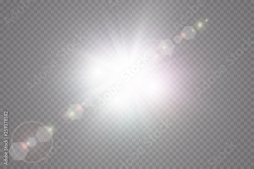 Obraz Glow light effect. Starburst with sparkles on transparent background. Vector illustration. Sun - fototapety do salonu