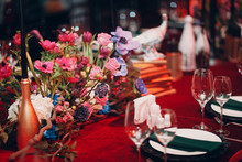 Table Wedding Decor In Red And...