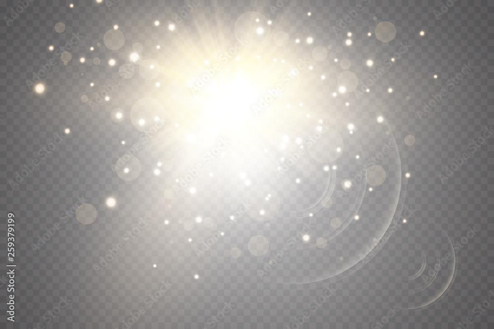 Fototapety, obrazy: Glow light effect. Starburst with sparkles on transparent background. Vector illustration. Sun