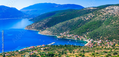 Breathtaking scenery of Kefalonia island. View of Agia Efimia village and bay. Greece