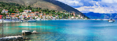 Greece travel - picturesque coastal village Agia Efimia un Kefalonia, Ionian islands