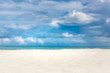 Minimal beach scenery, white sand, blue sky and sea with view. Beautiful tropical landscape