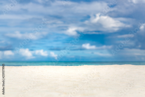 Keuken foto achterwand Strand Minimal beach scenery, white sand, blue sky and sea with view. Beautiful tropical landscape