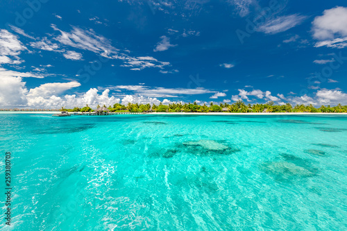 Poster Vert corail Beautiful tropical beach and sea with coconut palm tree on blue sky in Maldives island - Boost up color Processing