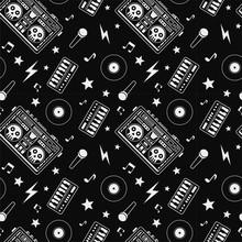 Boombox, Vinyl Records, Microphone, Skull. Rock Music Attributes Seamless Pattern.