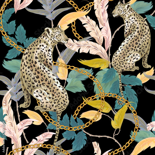 Foto auf AluDibond Künstlich Baroque seamless pattern with exotic trees, leopard, hibiscus and golden chains on black background. Vector patch for wallpapers, fabric, surface textures, textile.