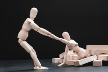 Personal Encouragement. Mutual Assistance And Support. Helping Hand. Team Spirit. Corporate Solidarity. Artist Manikin Composition