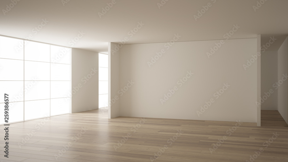 Fototapety, obrazy: Empty room interior design, open space with white walls, modern style, parquet wooden floor, minimalist contemporary architecture, concept, mock-up, architecture idea