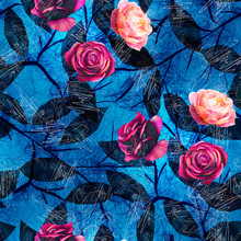 Bright Blue And Pink Scribble Rose Flower Pattern