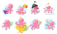 Octopus Cartoon Style Baby Character