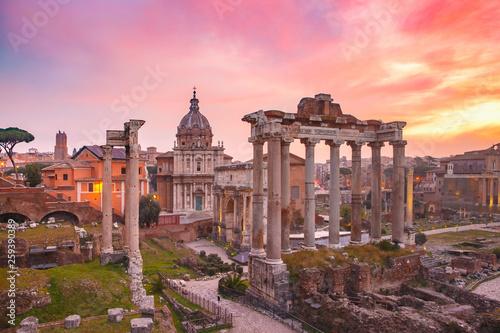 Ancient ruins of Roman Forum at sunrise, Rome, Italy Fototapeta