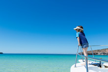 5 Year Old Boy At Bow Of Boat, Isla Espiritu, Mexican Baja, Sea Of Cortez