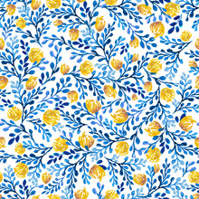 Seamless Pattern With Leaves, Flowers And Plants.