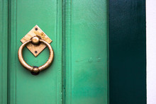 Old Wooden Doors With An Old M...