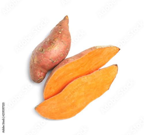 Obraz na płótnie Fresh ripe sweet potatoes on white background, top view