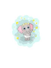 Greeting Card Cute Cartoon Elephant. Cute Cartoon Elephant. Cheerful Animated Elephant Calf.