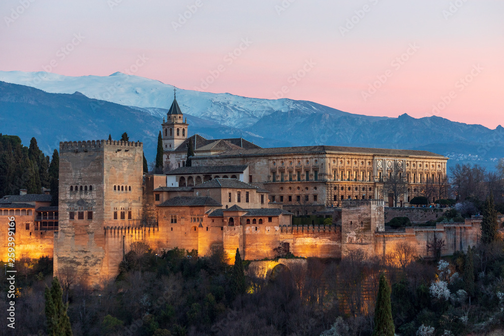 Fototapety, obrazy: Sunset view at the Alhambra palace and fortress in Granada, Spain
