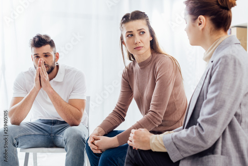 Fototapety, obrazy: women and man sitting during group therapy session
