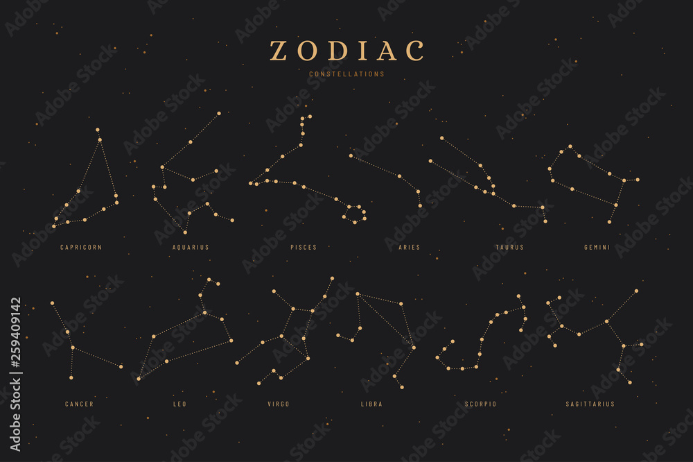 Fototapeta zodiac constellations on a dark night sky background with stars,  astrology / astronomy spiritual vector design elements