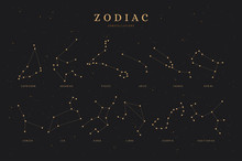 Zodiac Constellations On A Dar...