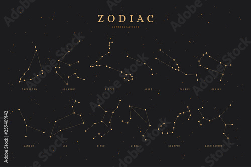 Photo zodiac constellations on a dark night sky background with stars,  astrology / as