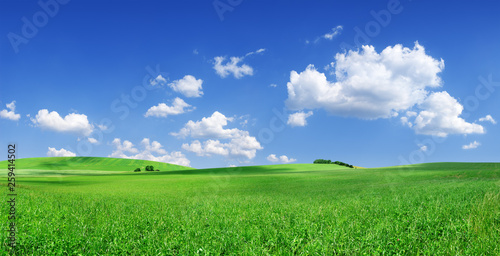 Foto Idyllic view, green hills and blue sky with white clouds