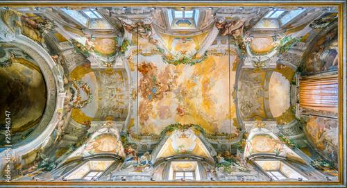 Frescoed vault with Apotheosis of Saint Dominic by Domenico Maria Canuti in the Church of Santi Domenico e Sisto in Rome, Italy Canvas Print
