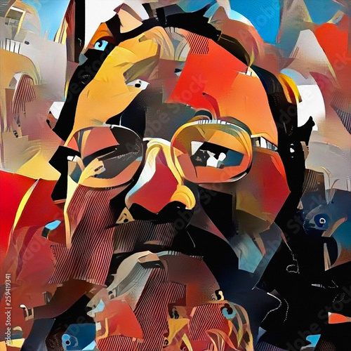 Portrait of man with glasses Wallpaper Mural