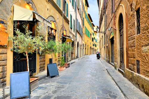 Quaint street in the historic Old Town of Florence, Tuscany, Italy