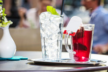 Fresh Self Made Ice Tea In Cafe On Table