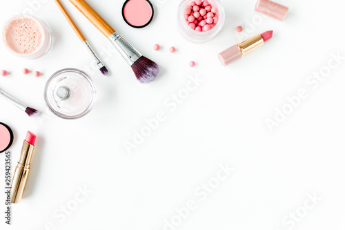 Obraz Professional decorative cosmetics, makeup tools on white background. Flat composition beauty, fashion. flat lay, top view - fototapety do salonu