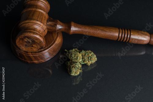 Legalisierung von Cannabis Nahaufnahme von Cannabis und Richterhammer Wallpaper Mural