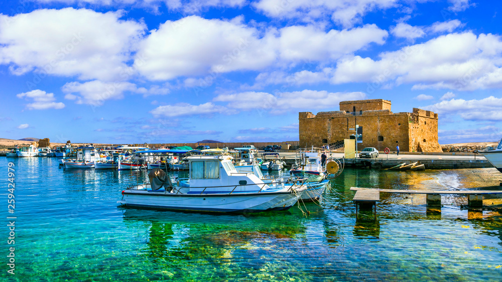 Fototapety, obrazy: Cyprus landmarks - castle in Paphos town, popular tourist destination