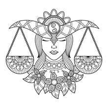 Libra Zodiac Sign. Zentangle C...